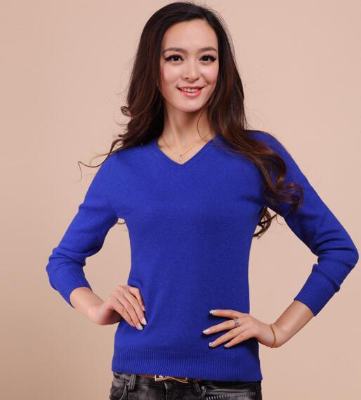 LHZSYY Spring autumn New soft Cashmere Sweaters Female Slim V collar knit Long sleeve pullover Solid color short Wool Sweaters-lilugal