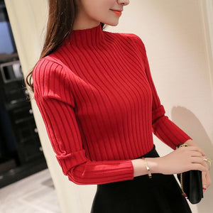 2017 Autumn and winter New Korean Half turtleneck Sweater jacket Womens Long Sleeve Set head All-match knitted Sweater woman-lilugal