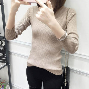 Womens Autumn Winter Cotton Blend Sweater V-Neck Pullovers Long Sleeve Jumpers Womens Knitted Sweaters-lilugal
