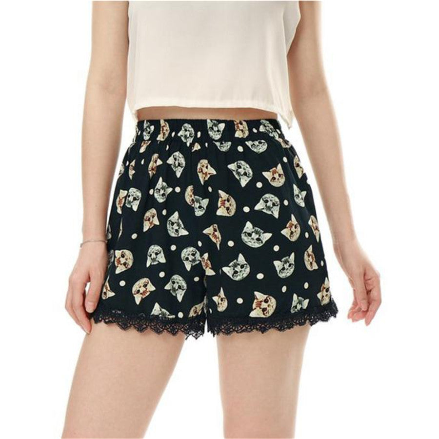 #5505 New Design Women Sexy Hot Cat head lace lace shorts Summer Casual Shorts High Waist Shorts-lilugal
