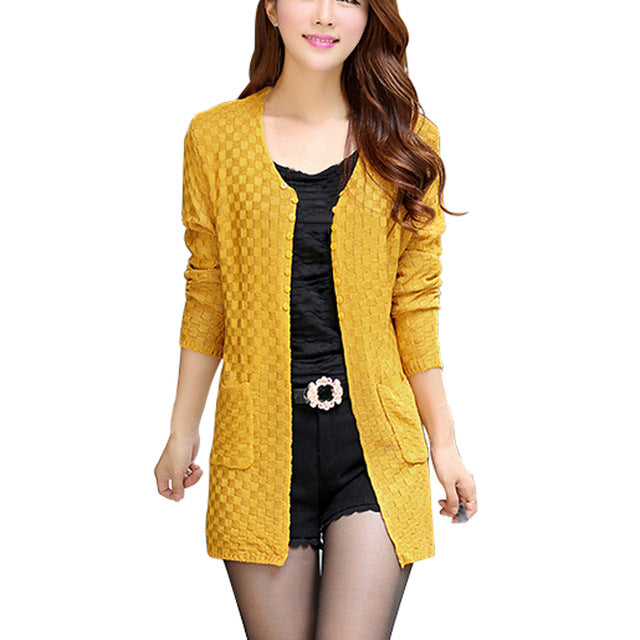New Spring Autumn Women Casual Long Sleeve Knitted Cardigans Autumn Crochet Ladies Sweaters Fashion Women Cardigan-lilugal