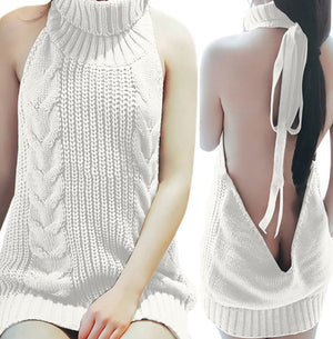 2017 Japan Sexy Tie Open Backless Long Virgin Killer Sweater Turtleneck Sleeveless Lace-up Women Jumper Pullover Vest 5 Colors-lilugal