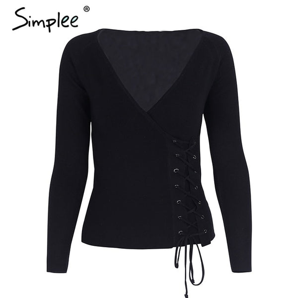 Simplee Causal lace up v neck knitted sweater women Slim skinny winter sweater jumper 2017 Autumn knit pull femme pullover-lilugal