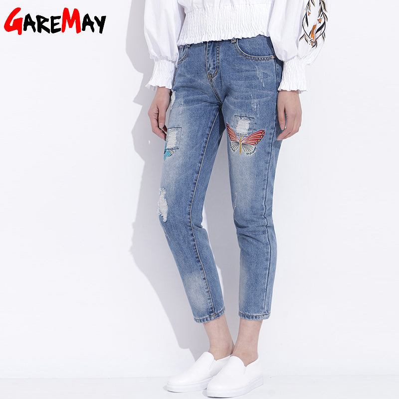 Womens Ripped Jeans With Embroidery 2018 Ladies Distressed Jeans Casual Cotton Broken Denim Pants Pantalones Vaqueros Mujer-lilugal