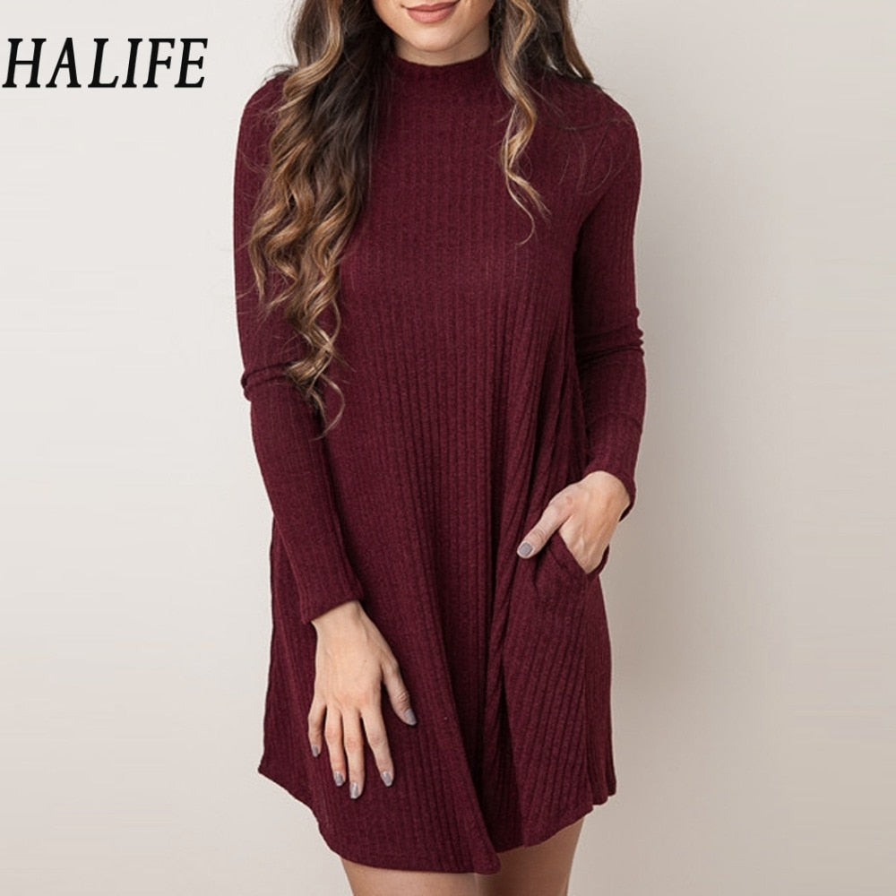 HALIFE Women Christmas Sweaters And Pullovers Long Sleeve Long Knitted Sweater Dress Casual Solid Winter jumper Pull Femme QZS10-lilugal