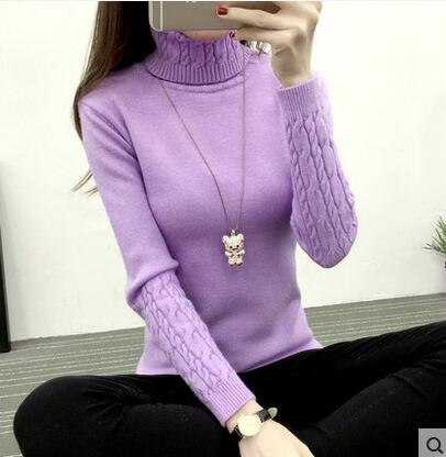 YAGENZ Autumn Winter Women Turtleneck Sweater Knitwear Slim Solid Pullover Warm Casual Long-sleeved Shirt Sweater Women Clothing-lilugal