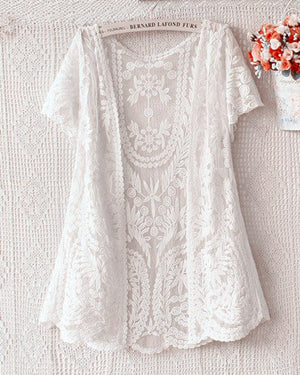 2017 Summer Embroidered Floral Crochet Lace Cardigan Shawl short sleeve Cardigan Coat sunscreen Beach Cover up blusa-lilugal