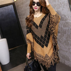Women Sweaters Pullovers Oversized Tassel Cloak Poncho Cape Knitted Sweater Women Long Sleeve Jumper Autumn Winter Tops 9428-lilugal