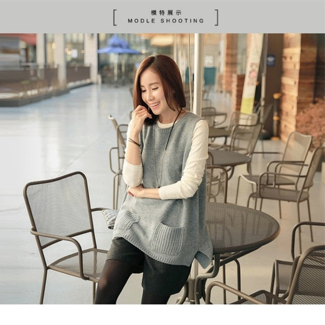 JECN 2017 Spring Autumn New Cashmere Knitting Wool Pocket Pullover Women Vest Back with Button Female Loose Vests Free Shipping-lilugal