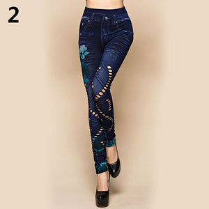Women's Sexy Hollow Cut Elastic Pants Flower Print Skinny Jeans Denim Leggings-lilugal