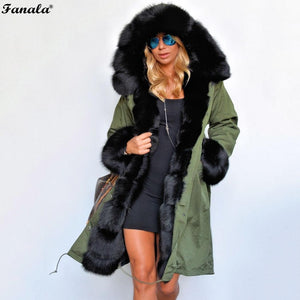 FANALA 2018 Fashion Women's Faux Fur Lining Hooded Long Coat Parkas Outwear Army Green Large Raccoon Fur Collar Winter Jacket-lilugal