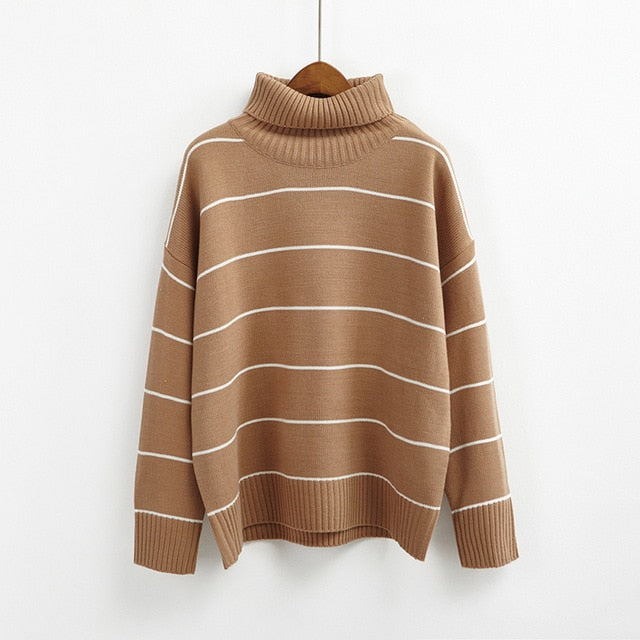 Korean winter turtleneck striped sweater women retro long sleeve loose thicked sweaters female casual basic knitted jumpers-lilugal