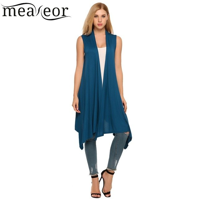 Meaneor Women Vest Sleeveless Cardigan Casual Draped Asymetric Hem Open Front Solid Black Feminino Long Cardigan Sweater Coat-lilugal