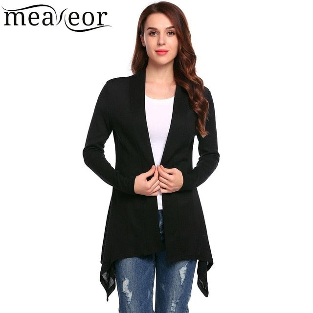 Meaneor Brand Autumn Elegant Cardigan Women Casual Solid Front Open Long Sleeve Solid Asymmetrical Hem Knitted Sexy Cardigans-lilugal