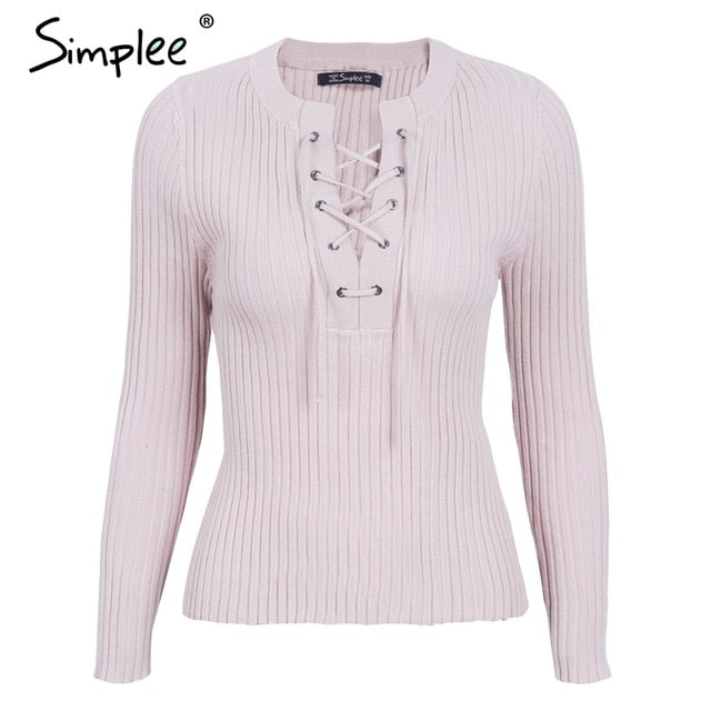 Simplee O neck tie up knitted sweater women Autumn pull knit jumper winter sweater female Casual streetwear pullover pull femme-lilugal