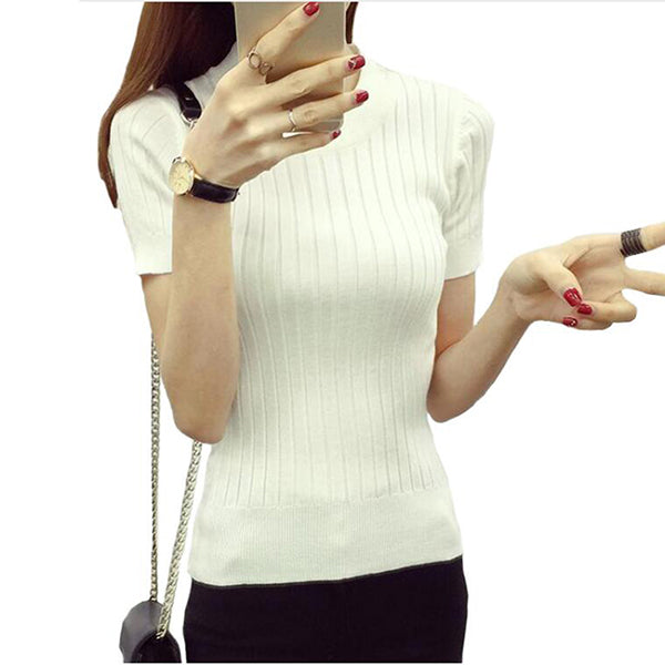 Women Fashion Sweater 2018 High Elastic Winter Green Red Black Tops Women Knitted Pullovers Short Sleeve Shirt Female Clothes-lilugal