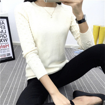 6 Colors Sweaters Women 2018 Hot Sale Winter O-neck Long Sleeve Pullovers Knitted Sweater Female Warm Tops-lilugal