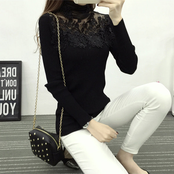 High Elastic Knitted Sweater Women 2018 Spring Autumn Lace Patchwork Long Sleeve Women Sweaters And Pullovers Female Pull Femme-lilugal
