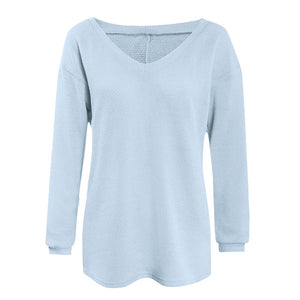 Autumn Winter Knitted Sweater Women V-neck Loose Sweater Simple Solid Color Long Sleeve Casual Famale Sweater and Pullover Tops-lilugal