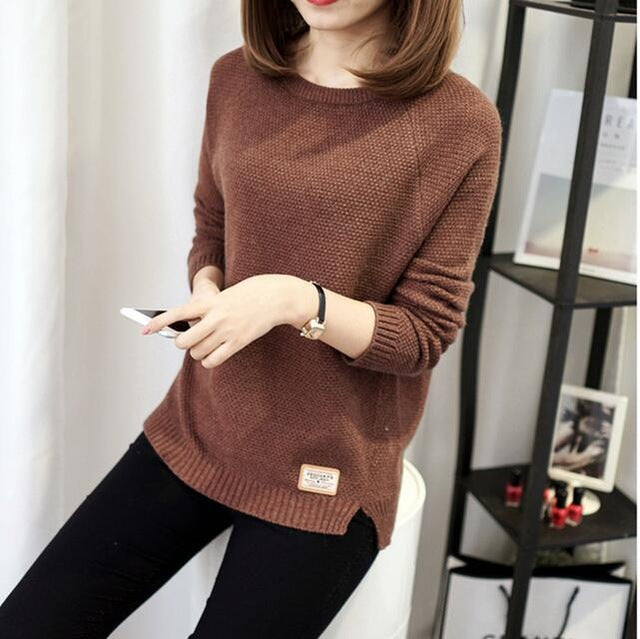 Knitted Sweater And Pullover For Women 2017 Autumn Winter O-Neck Full Sleeve Solid Casual Keep Warm Knitwear Female Cotton Coat-lilugal