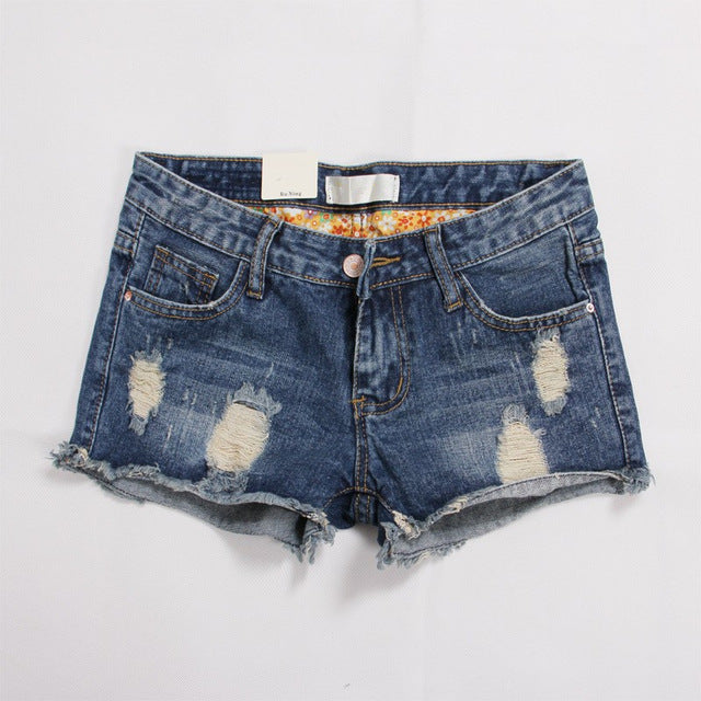 Europe Blue Denim Shorts For Women 2018 Summer New Brand Trendy Slim Casual Plus Size 36 Womens Jeans Shorts-lilugal