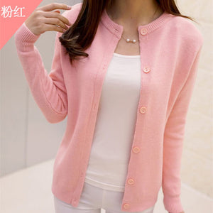 DisappeaRanceLove Brand 2018 spring round neck cardigan sweater large size mercerized cotton solid color wild Slim Jacket-lilugal