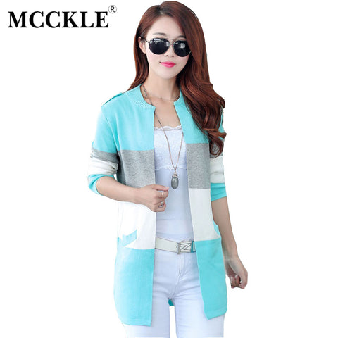 713f9ec346 MCCKLE Spring And Autumn Long Knitting Cardigan Female Spell Color Stripe O  Neck Slim Thin Coat