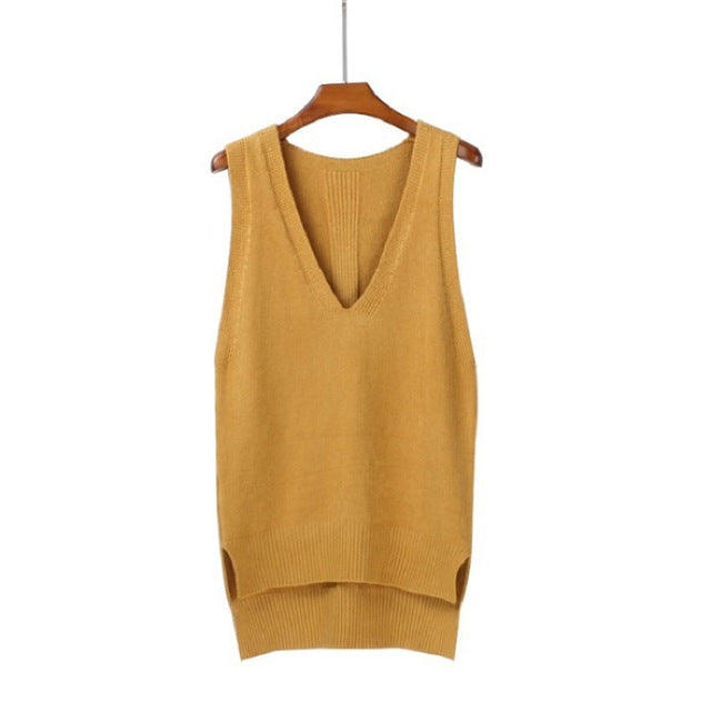 2018 Spring loose vest V neck knitted sleeveless sweater for women Side split grey sweaters vests Pullover female waistcoat vest-lilugal
