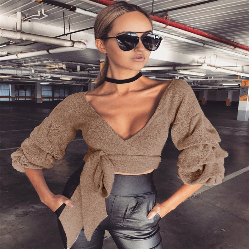 Stylish Autumn Style Women Winter Knitted Jumper Gray Sweater Deep V Neck Lace Up Tops Pullover Knitwear Sexy Crop Tops Clubwear-lilugal