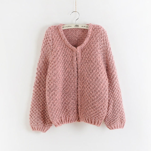 2018 Autumn winter New Women Korean short Cardigan Crochet Casual Oversized Knitted Coat bat sleeve Thick Cardigan sweater-lilugal