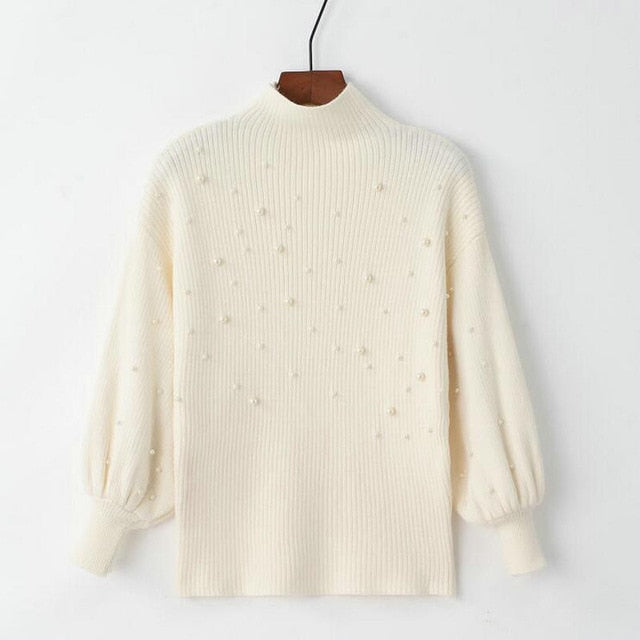 2018 Women Sweater Pearl Beading Lantern Sleeves Sweaters Half Turtleneck Knit Pullover Pearl Beaded Jumper-lilugal