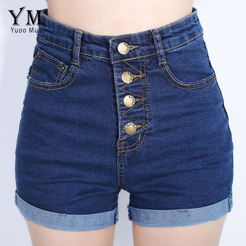 YuooMuoo 2018 Fashion 4 Buttons Retro Elastic High Waist Shorts Feminino Denim Shorts for Women Loose Plus Size Blue Jeans Short-lilugal