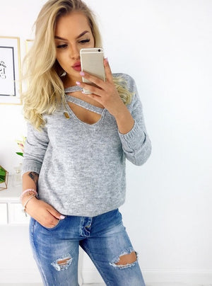 Autumn Winter Long Sleeve Knitted Women Pullover Sweater Casual Solid V neck Knit Female Jumper Sweaters Pull Femme S-XXL-lilugal