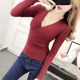 Gkfnmt High Elastic Knitted Sweater Woman Sexy V-Neck Women 2018 Women Sweaters And Pullovers Korean Long Sleeve Pull Femme Red-lilugal