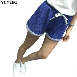 YGYEEG Summer Street Fashion Shorts Women Elastic Waist Short Pants Women All-match Loose Solid Soft Cotton Casual Short Femme-lilugal