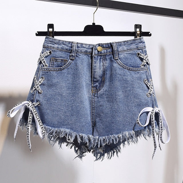 Harajuku Vintage Tassel Denim Shorts Women Lace Up Jeans Cute Hot Shorts Streetwear Casual Party Shorts Female-lilugal