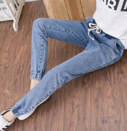S- 5XL Full size autumn jeans woman 2017 blue ankle long pants female drawstring elastic waist trousers female bottoms pockets-lilugal