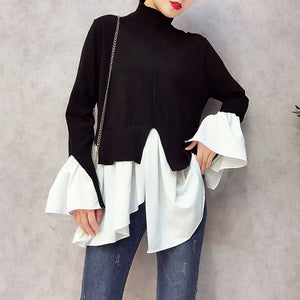 CHICEVER 2018 Spring Patchwork Pullovers Knitted Sweater For Women Turtleneck Flare Sleeve Irregular Female Jumper Sweaters Tide-lilugal
