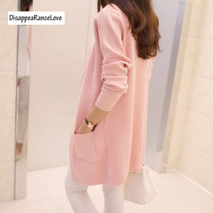 Free Shipping 2018 Spring and Autumn Women's Top Medium-long Cardigan Outerwear Sweater Knitted Cardigan female Sweaters-lilugal