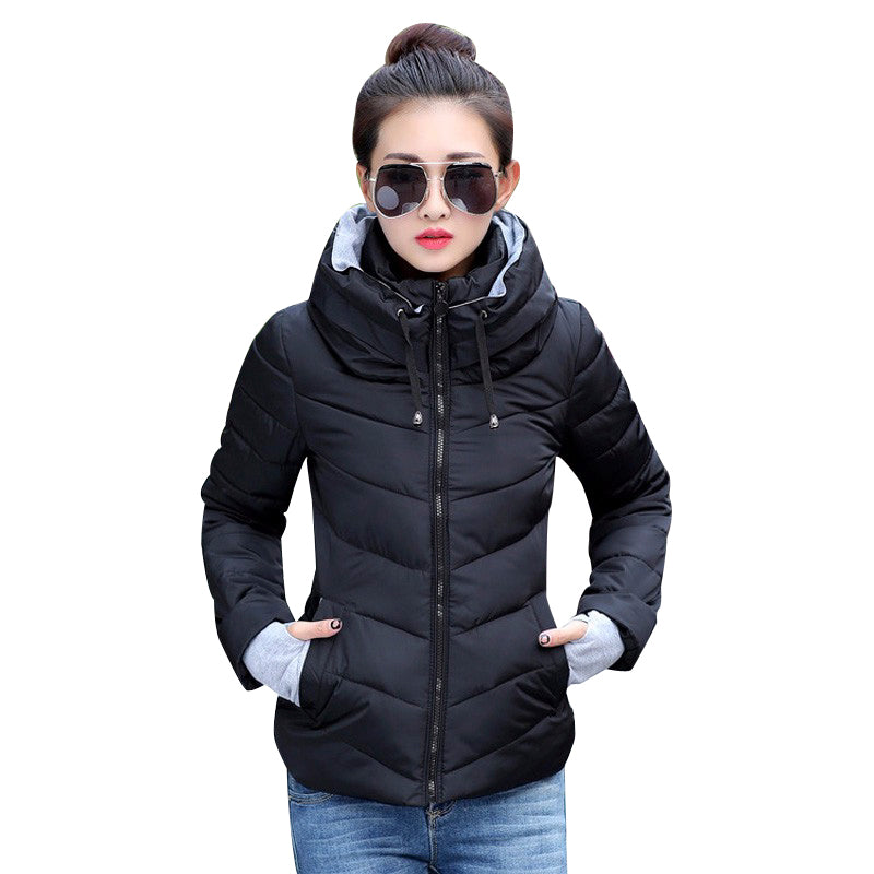 2018 Winter Jacket women Plus Size Womens Parkas Thicken Outerwear solid hooded Coats Short Female Slim Cotton padded basic tops-lilugal