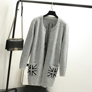 2018 New Autumn Spring Women Sweater Cardigans Casual Warm Long Design Female Knitted Sweater Printed Cardigan Sweater-lilugal