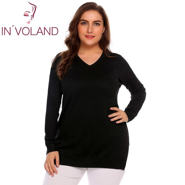 IN'VOLAND Women Basic Sweater Tops Plus Size L-4XL Spring Autumn Casual V-Neck Loose Large Long Sleeve Solid Pullovers Big Size-lilugal