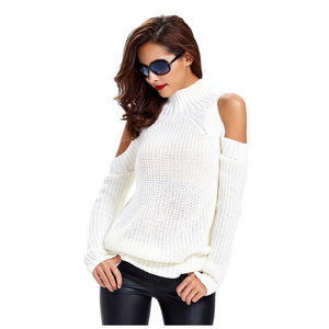 sweater with open shoulders off shoulder pink white jumper sweater pullover women'sturtleneck sweater for women knitted jacket-lilugal
