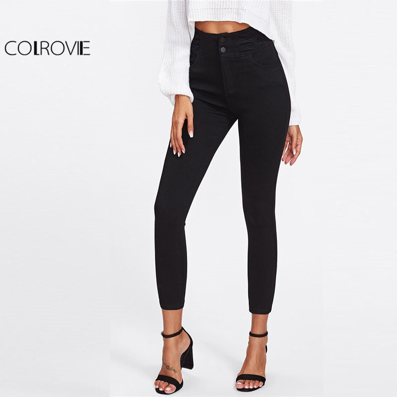 COLROVIE Black High Waist Skinny Denim Jeans Women Zipper Fly Casual Plain Pants 2018 Spring Girls Slim Stretch Trousers-lilugal