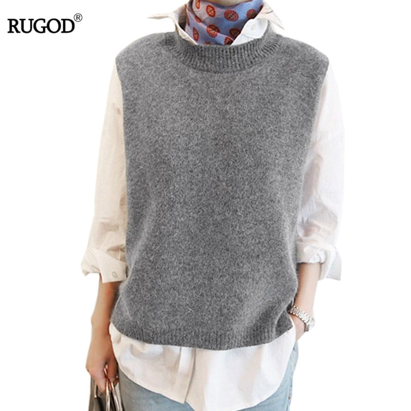RUGOD 2018 Women's Autumn Winter Casual Loose Wool Sweater Vest Sleeveless O-Neck Knitted Cashmere Vests Female Jumper Gray tops-lilugal