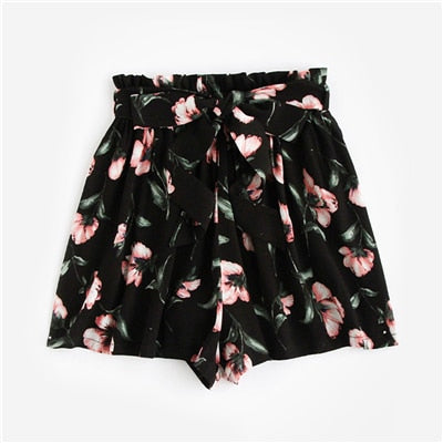 SHEIN Womens Shorts Multicolor Elastic Waist Lace Up Floral Loose Shorts Mid Waist Bow Tie Waist Flower Print Shorts-lilugal