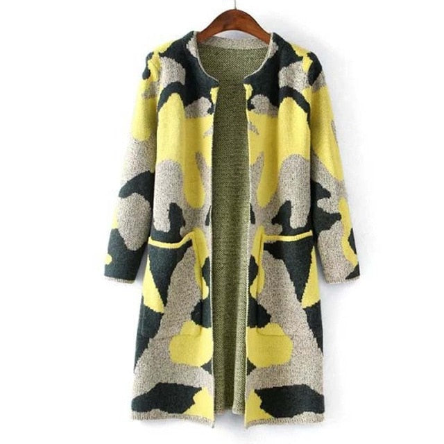 MCCKLE Long Sleeve Sweater Womens Autumn Winter Fashion New Camouflage Long Knitted Female Cardigan Women's Trench ZY682-lilugal