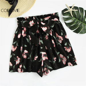 COLROVIE Bow Tie Belt Waist Flower Print Shorts Women Black Elastic Waist Lace Up Loose Bottom 2018 Mid Waist Casual Shorts-lilugal