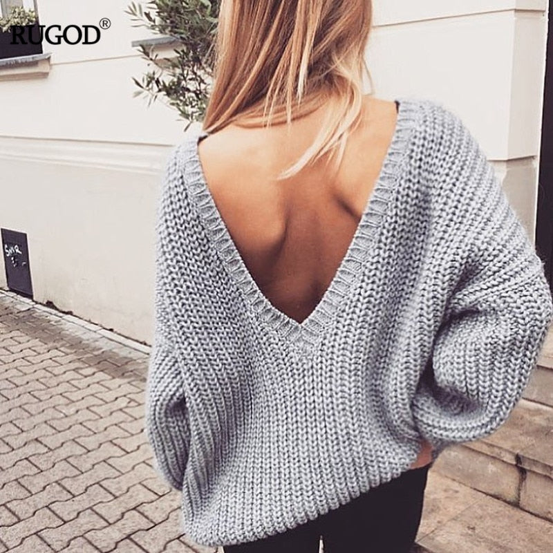 Rugod 2018 New Sexy Backless V-neck Sweater Women Pullover Autumn Winter Casual Knitted Sweater Femme Tricot Pullover Jumpers-lilugal