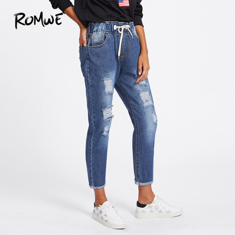 ROMWE Ripped Cuffed Women Blue Jeans Fashion 2018 Spring Casual Pockets Mid Waist Denim Pants Drawstring Rolled Up Crop Jeans-lilugal
